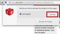Java-lisäosan käyttöönotto vain vierailukerralla.