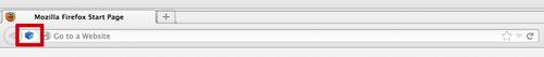 Java-lisäosan huomiokuvake internet-selaimen osoiterivillä.