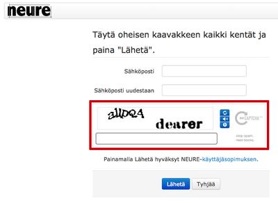 Uuden käyttäjän rekisteröinti Neureen.