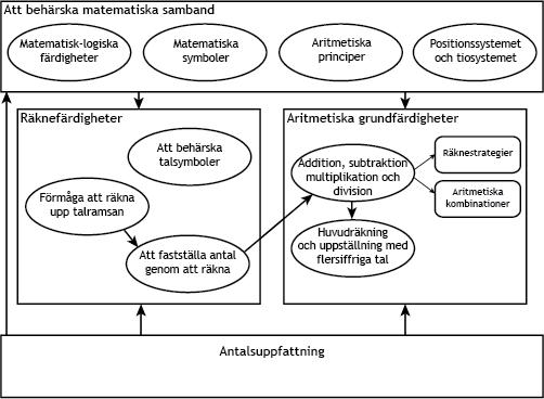 De centrala matematiska färdighetsområdena för barn i förskoleåldern och i nybörjarundervisningen